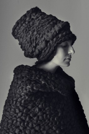 Bubbles, fabric handweaved by wool. Designer Elisabeth Johansson