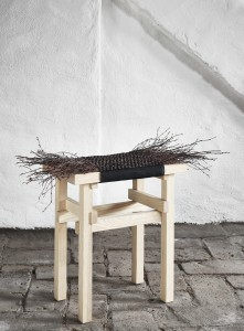 Stool with birch twigs. TWISTIN' OF SWEDEN